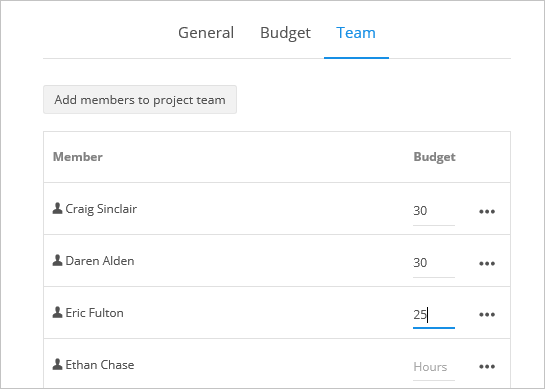 project member budgets