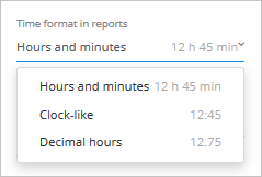 selecting time format