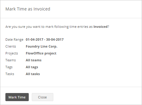 Mark Time as Invoiced info
