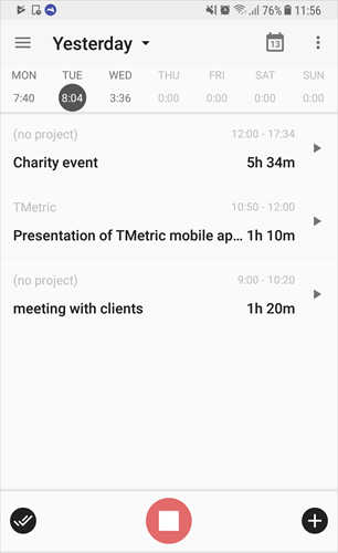 TMetric mobile app for Android