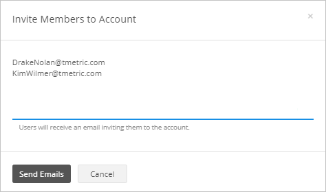 Inviting members to an account