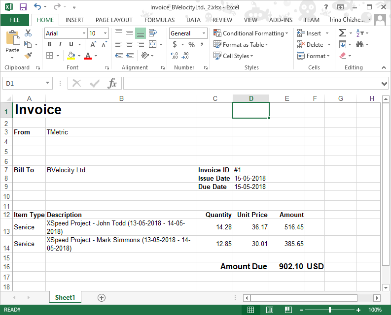 Export invoice to Excel