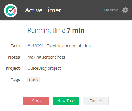 Active Timer browser extension