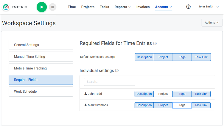 Required Fields